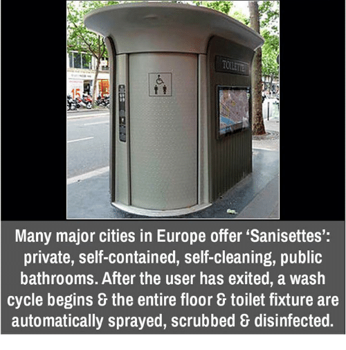 many major cities in europe offer sanisettes' private self