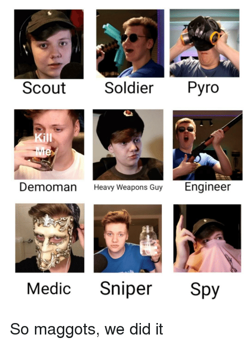 Scout Soldier Pyro Kill Demoman Heavy Weapons Guy Engineer Medic