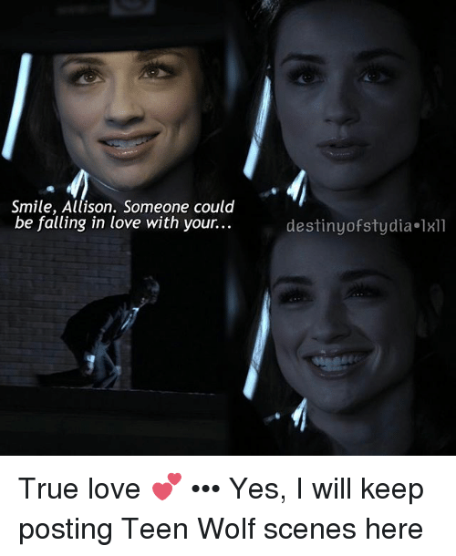 Smile Allison Someone Could Be Falling In Love With Your Destiny Of Sty Dia 1x11 True Love Yes I Will Keep Posting Teen Wolf Scenes Here Destiny Meme On Me Me