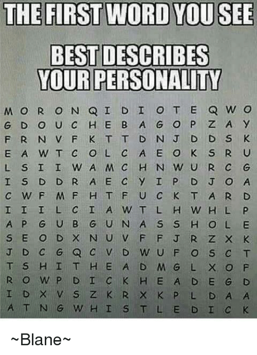 The First Word You See Describes You By Midnightlily Meme Center