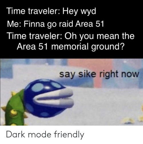 Time Traveler Hey Wyd Me Finna Go Raid Area 51 Time Traveler Oh