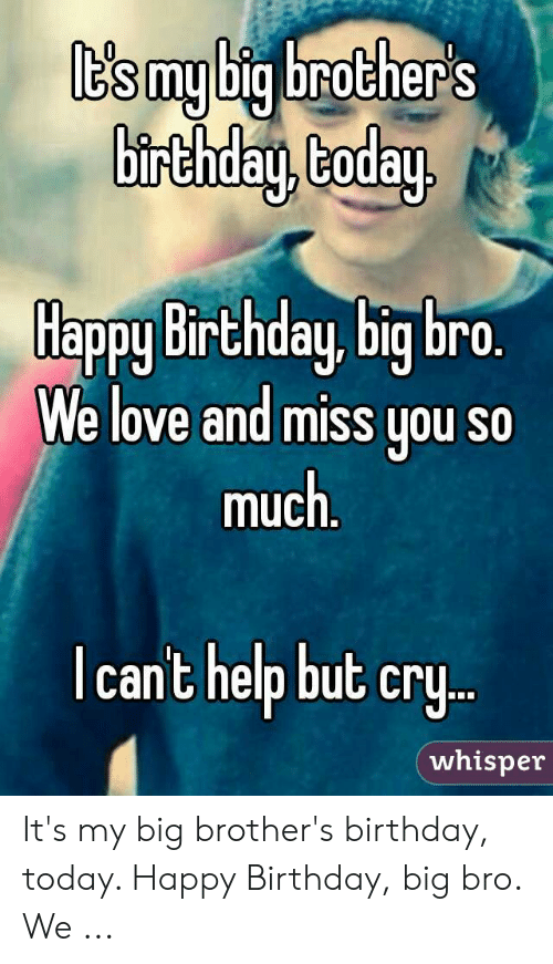 T S My Big Brother S Birthday Coday Happy Birthday Big Bro We Love And Miss You So Much Icant Help But Cry Whisper It S My Big Brother S Birthday Today Happy Birthday Big Bro
