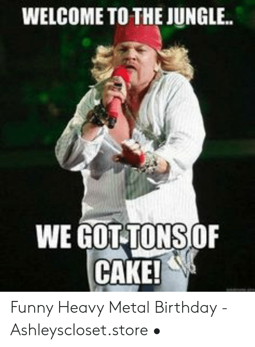 Welcome To The Jungle We Gottons Of Cake Funny Heavy Metal Birthday Ashleysclosetstore Birthday Meme On Me Me