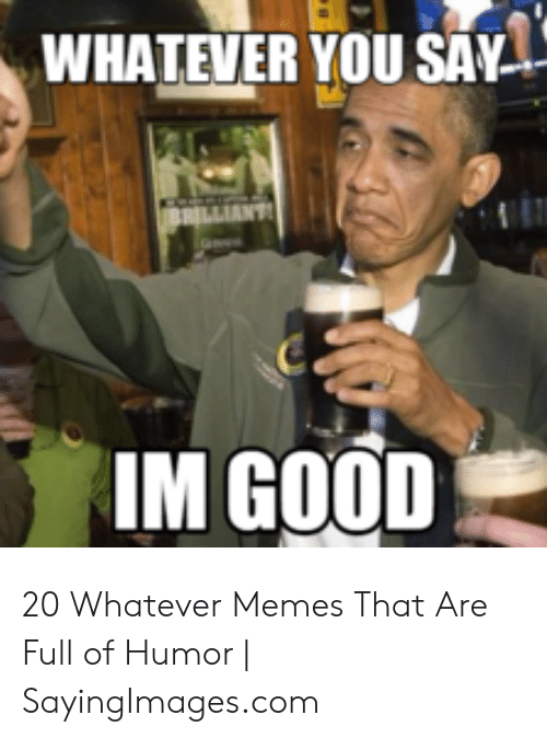 Whatever You Say Brilliant Im Good 20 Whatever Memes That Are Full