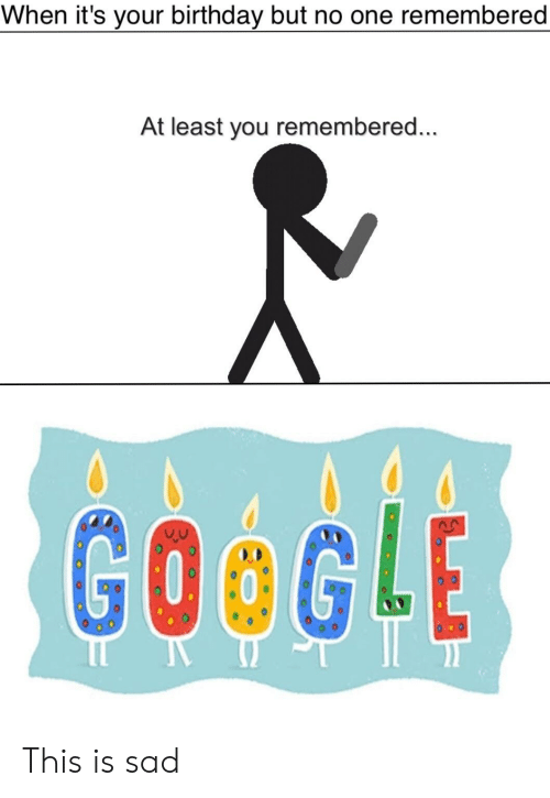 When It S Your Birthday But No One Remembered At Least You Remembered Google This Is Sad Birthday Meme On Me Me