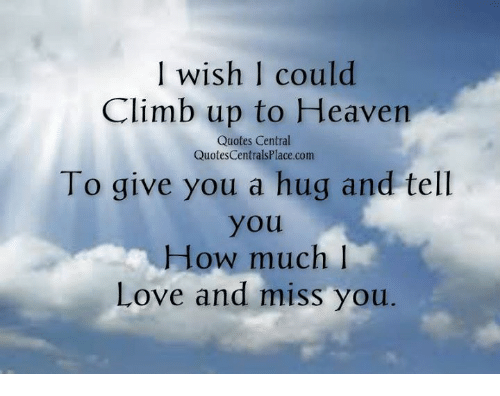 Wish Could Climb Up To Heaven Quotes Central QuotesCentrals Placecom To Give You A Hug And Tell