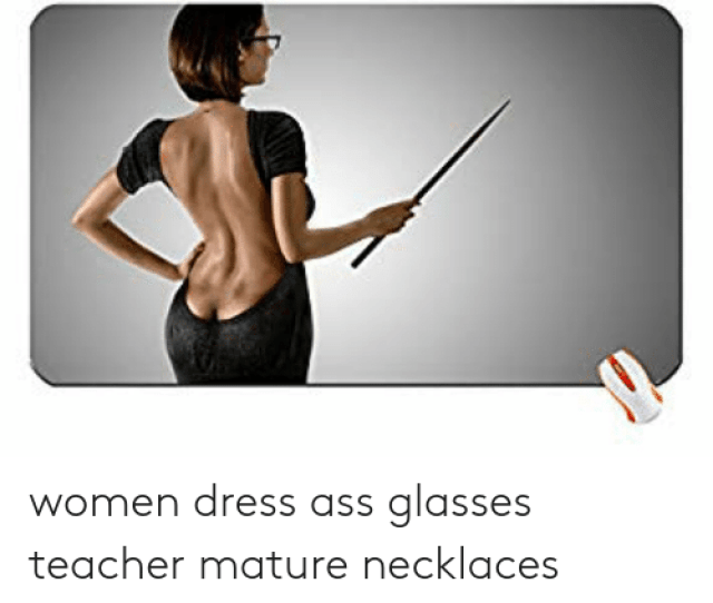 Ass Teacher And Dress Women Dress Ass Glasses Teacher Mature Necklaces Backless Clothing