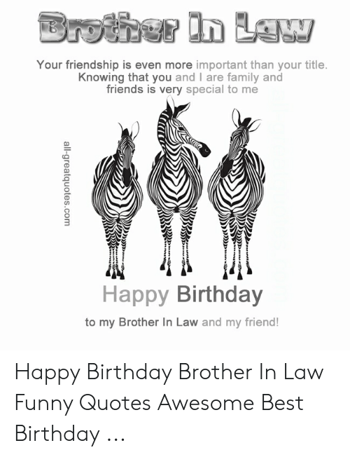 Your Friendship Is Even More Important Than Your Title Knowing That You And I Are Family And Friends Is Very Special To Me Happy Birthday To My Brother In Law And My