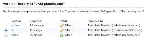 Recuperar versiones anteriores en Dropbox