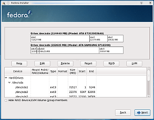 Particionado en la instalación de Fedora 11
