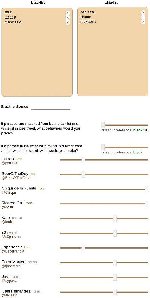 Montaje con los filtros disponibles en Filttr, el cliente de twitter perfecto