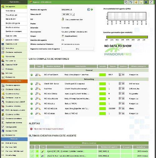 Vista de detalle de un host en Pandora FMS