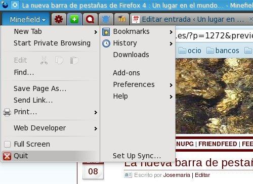 La nueva barra de pestañas de Firefox 4