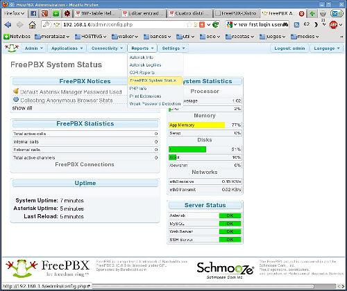 Consola inicial de FreePBX