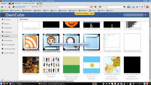 galería de imágenes en la interfaz web de owncloud