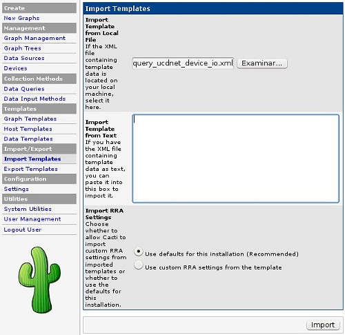 Importando plantilla para IO de disco en Cacti