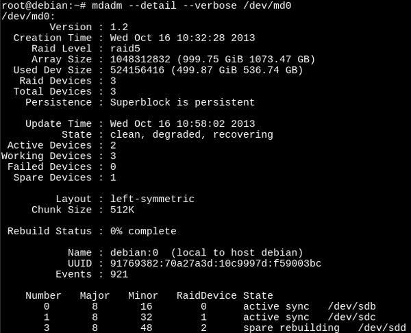 Información en detalle de un RAID con mdadm