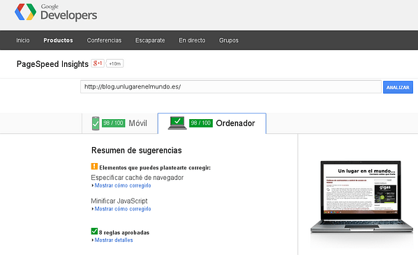 Resultados obtenidos con Google Page Speed Insights
