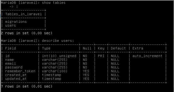 Tablas creadas por Laravel 5.6 para la autenticación de usuarios