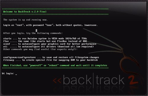 Pantallazo inicial de backtrack 2.0