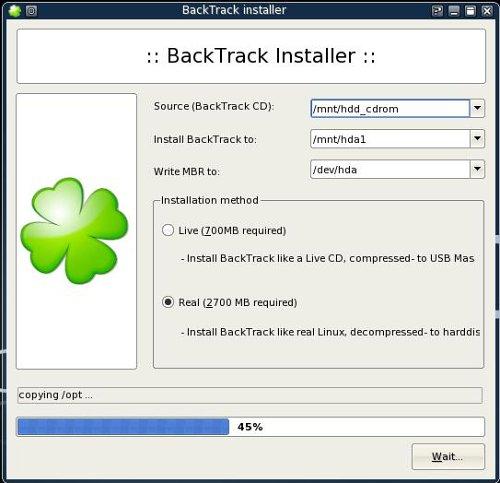 Pantallazo de la instalación de backtrack 2.0