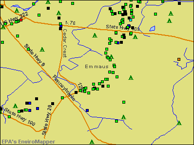 Emmaus, Pennsylvania environmental map by EPA