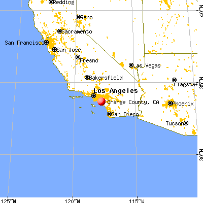 Orange County, CA map from a distance