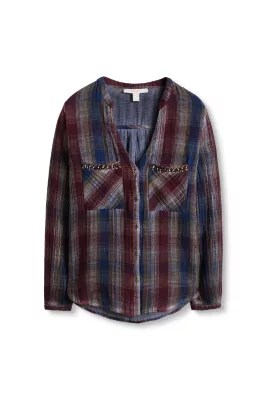 Esprit / Doubleface, geruite blouse, 100% katoen