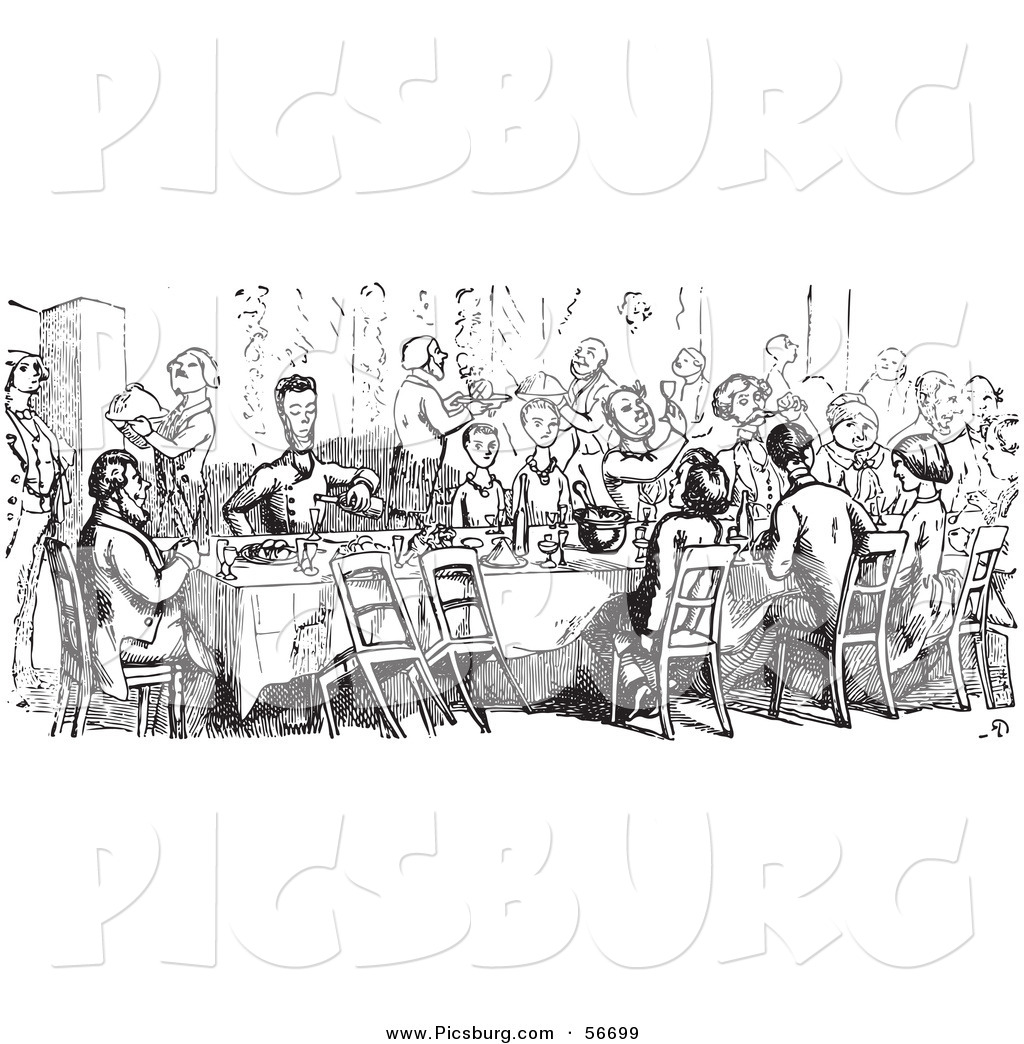 Clip Art Of A Retro Vintage Crowd Dining In A Black And