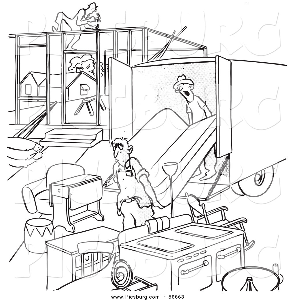 Clip Art Of A Retro Vintage Man Moving Into An Incomplete