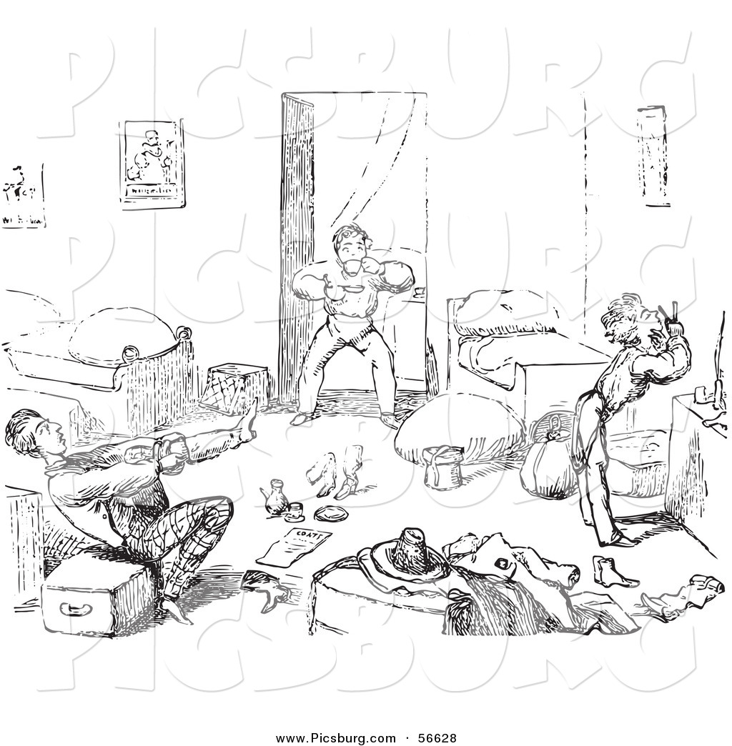Clip Art Of An Old Fashioned Vintage Rushed Travelers Waking Up In Black And White By Picsburg