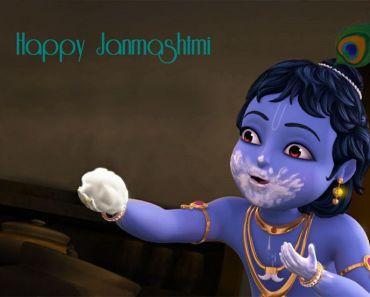 Happy-Krishna Janmashtami-Cute Baby Krishna Animation Beautiful HD-Wallpapers
