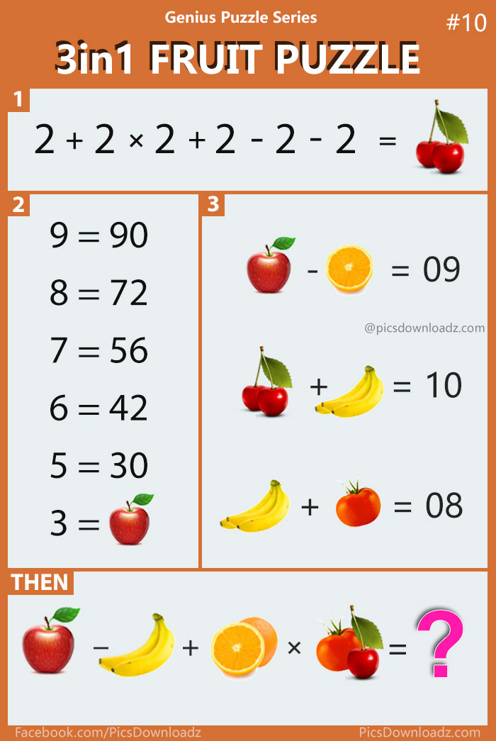3in1 Fruit Puzzle - Viral Math Puzzle. Confusing Brainteasers math puzzles. Genius Puzzle Series. Difficult puzzle question for whatsapp and facebook.