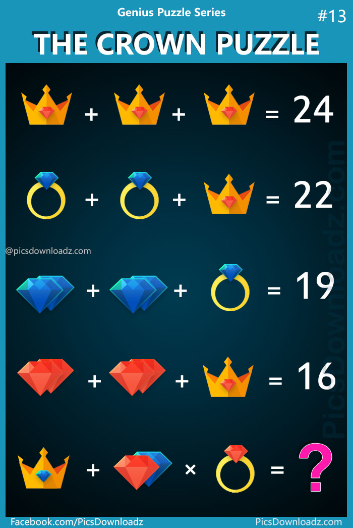 """Tough and Hard Genius Math logic Puzzle problem! 90% of people will fail to answer this difficult logical brain teaser math puzzle. """"The Crown Puzzle"""" Most interesting and confusing logic puzzle with the correct answer! Can you solve this Crown, Ring andDiamond puzzle"""