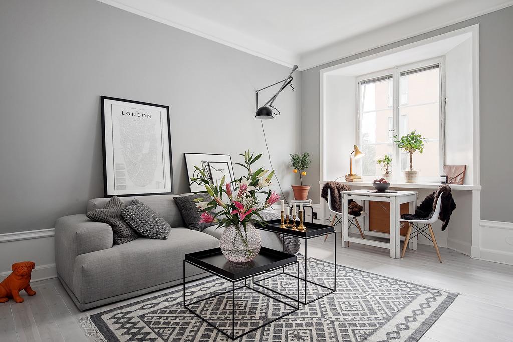 decoration grise dans un petit appartement