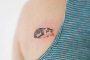 cat tattoo,back tattoo