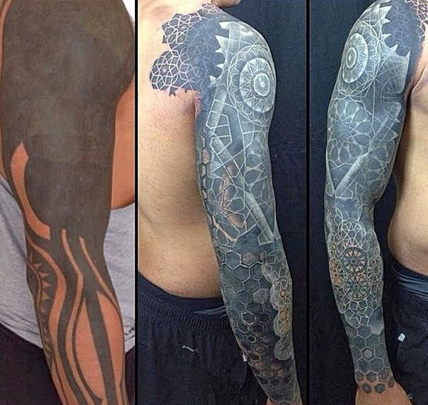A Before And After Picture Showing the Amount of Work Nathan Mould Put On A Sleeve With Black Ink For Man And Woman