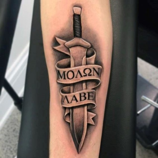 Amazing 3d Dagger And Banner Tattoo Deisgn For Men Lower Sleeve Or Arm
