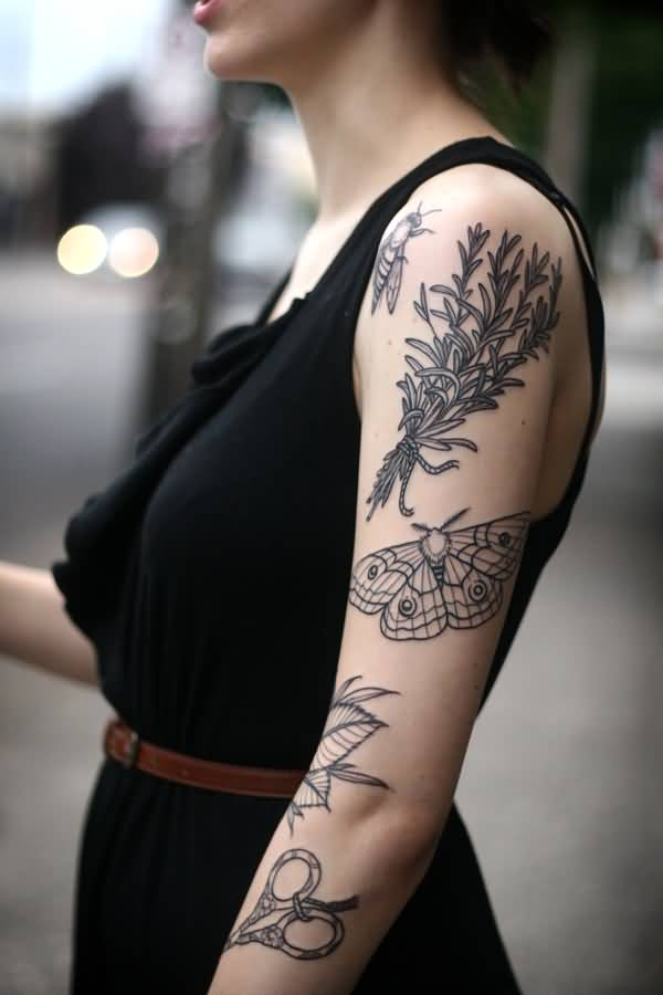 Amazing Arm Tattoos For Women On Shoulder On Back With Black Ink For Women