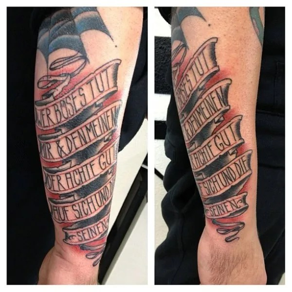 Amazing Black Ink Banner Tattoo Design For Men Forearm