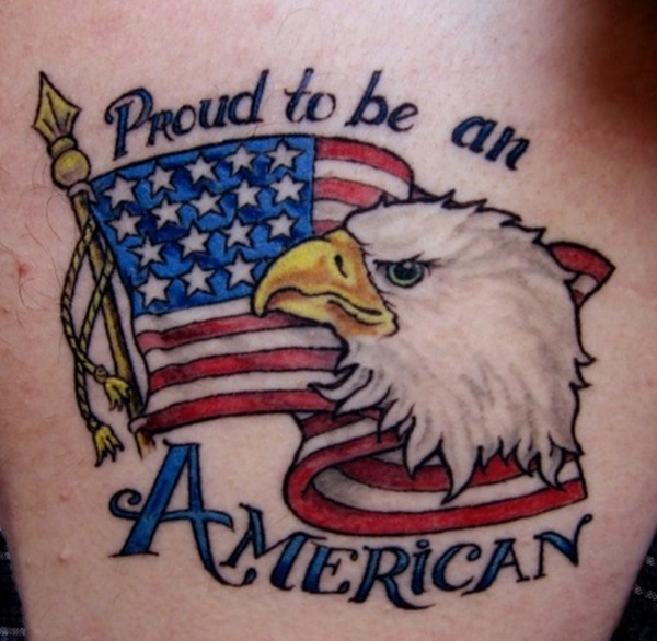 Amazing Colorful American Flag Eagle Quote Tattoo On Men Arm