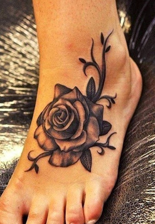 Amazing Grey Ink 3d Rose Vine Flower Tattoo On Girl Foot