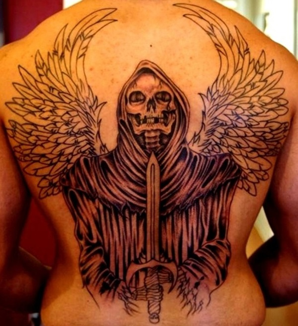 Amazing Grim Reaper With Wings And Sword Tattoo On Back Body
