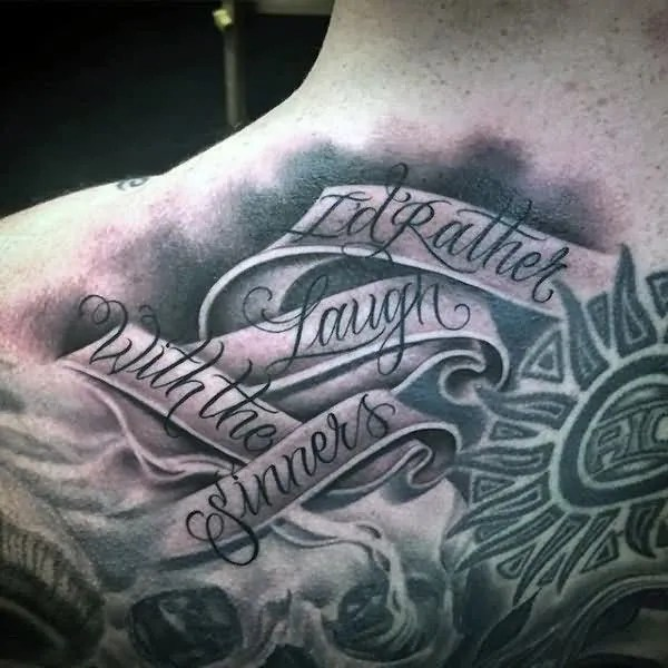 Awesome 3d Grey Ink Banner And Sun Tattoo Design For Men Back Body