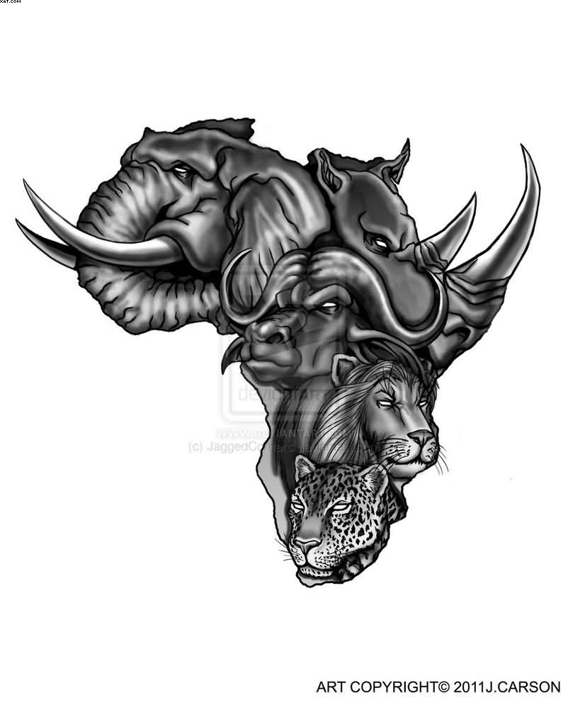 Awesome Black Color Ink African Animals Face Tattoo In Mape