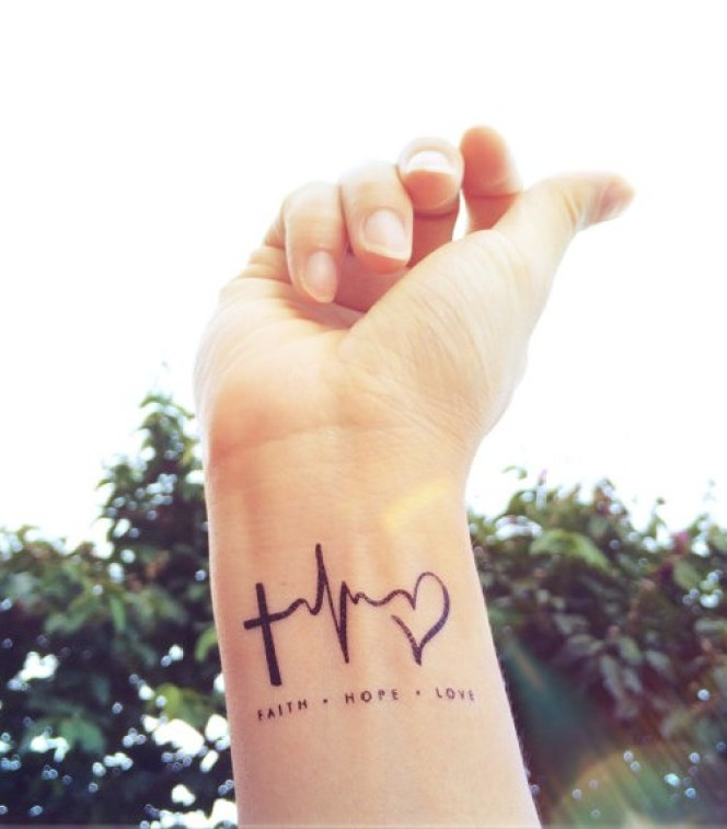 Awesome Cross Ekg Heart Faith Hope Love Heartbeat Tattoo On Wrist