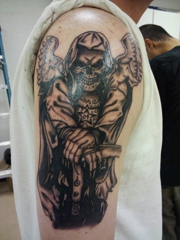 Awesome Grey Ink Grim Reaper With Angel Wings Tattoo On Shoulder