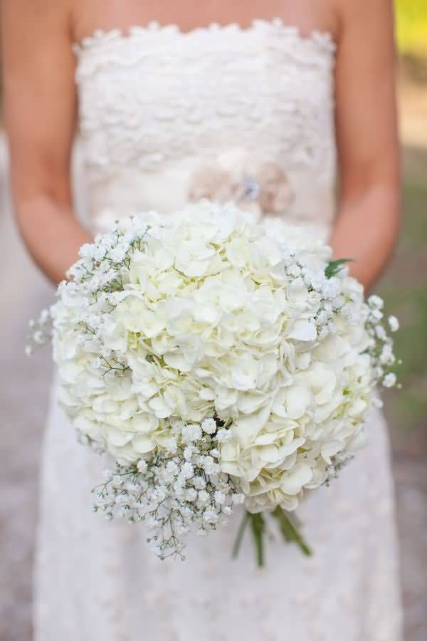 Awesome White Baby's Breath Flower Bouquet in Girl Hands