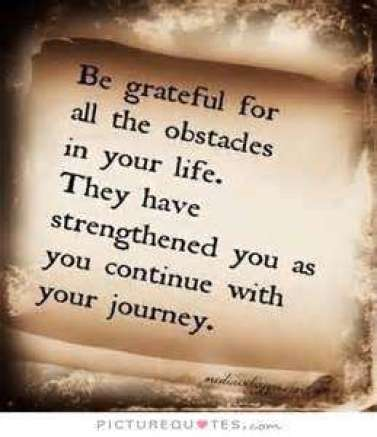 Be grateful for all the obstacles in your life. They have strengthened you as you continue with your
