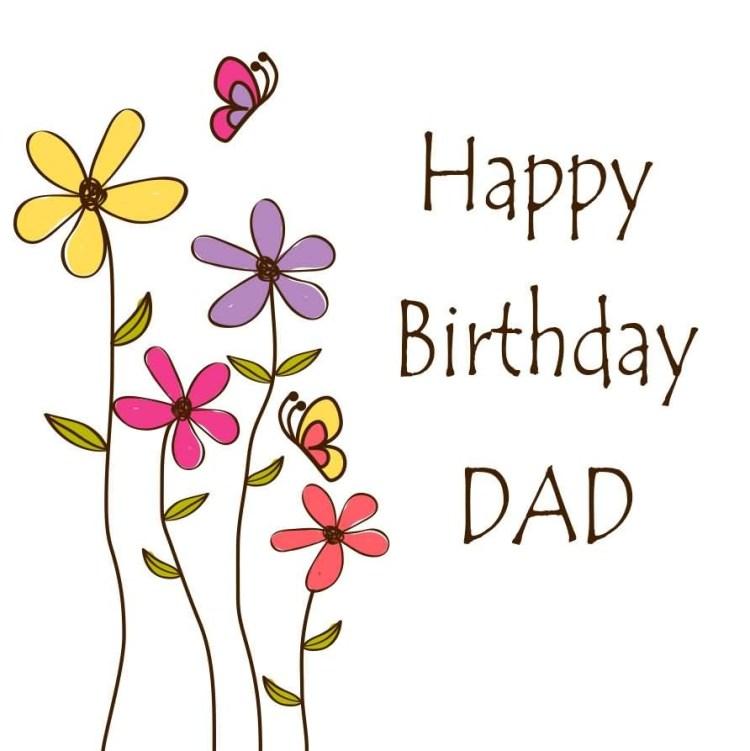 Beautiful Flower Card Wishes Happy Birthday Dad